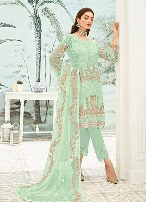 Green Color Embroidery Pakistani Salwar Suit