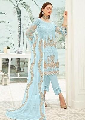 Blue Color Embroidery Pakistani Salwar Suit