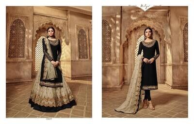 Black Embroidery and Stonework Georgette with Skirt and Salwar Suit