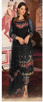 Black Designer Embroidery Georgette Chudidar Suit