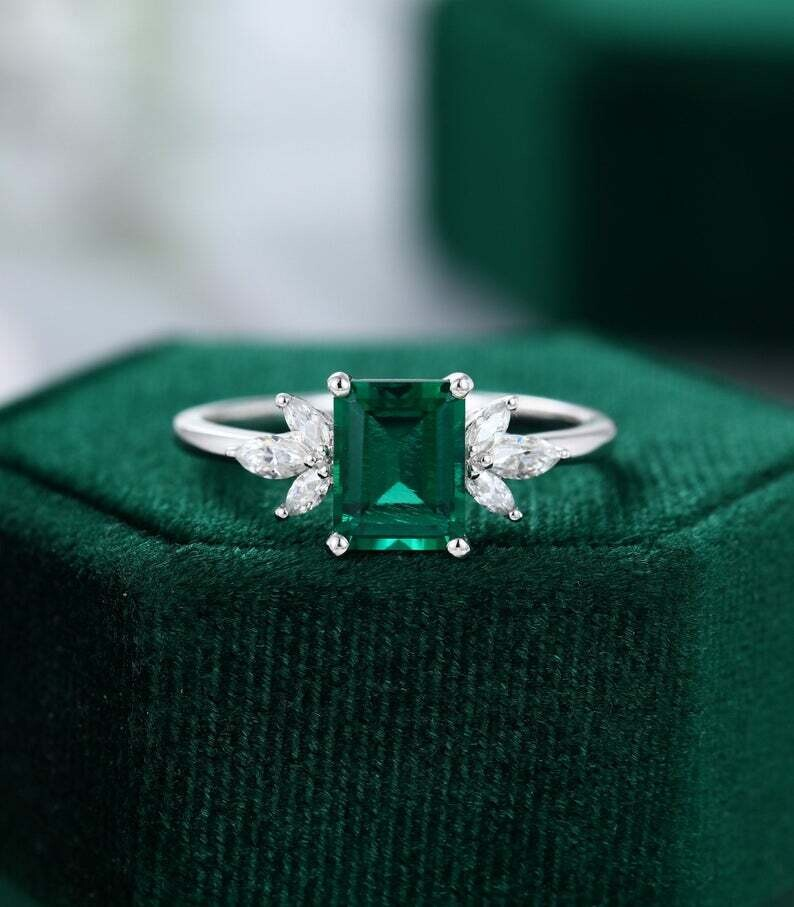 Lab Emerald engagement ring vintage Unique Marquise cut diamond Cluster ring White gold engagement ring women Bridal Anniversary gift