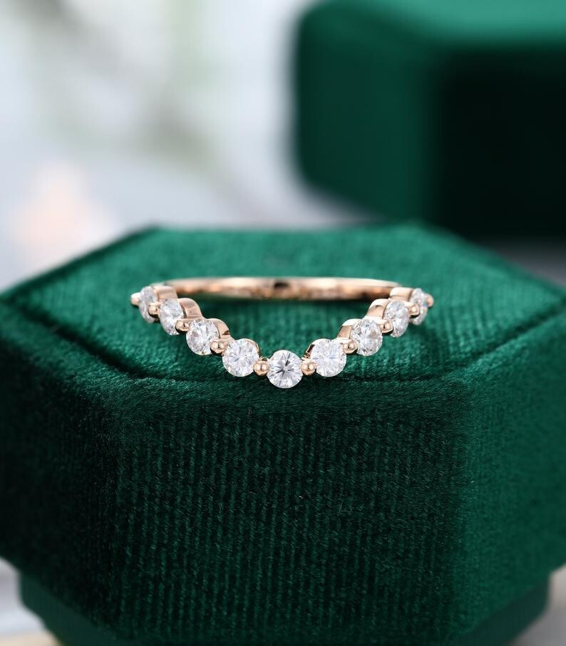 Emerald cut Moissanite engagement ring vintage Unique rose gold Marquise cut diamond Custer engagement ring women wedding Bridal gift