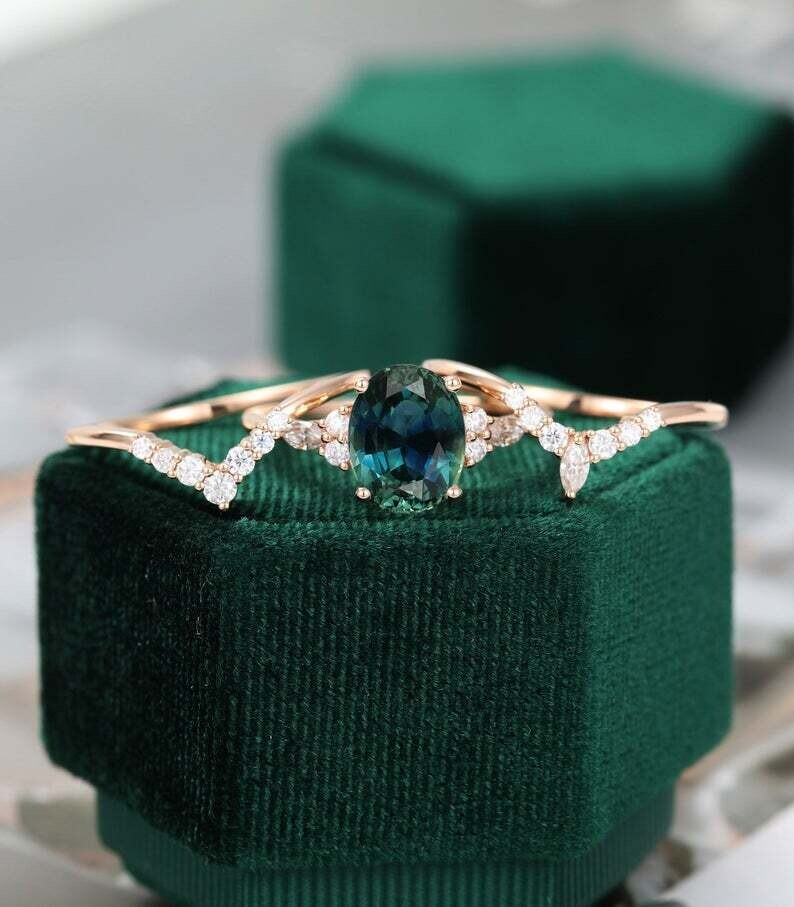 Oval Teal Green Blue Sapphire engagement ring set vintage rose gold engagement ring Marquise Cluster wedding Bridal Anniversary ring set