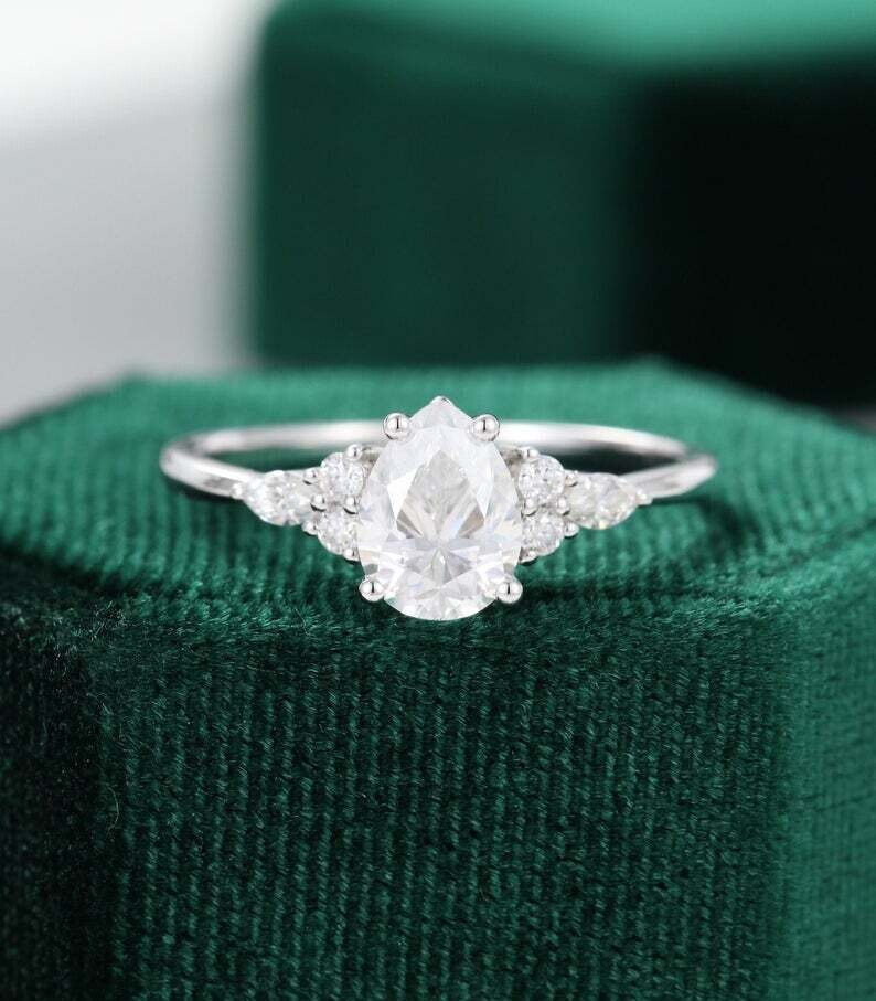 Pear shaped Moissanite engagement ring vintage unique Cluster white gold engagement ring women Marquise cut diamond wedding Promise gift