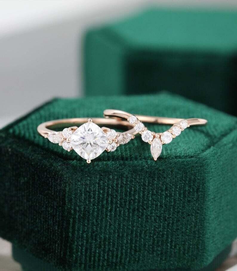 Cushion cut Moissanite engagement ring set Bridal set vintage Unique Rose gold engagement ring Marquise diamond Cluster wedding Promise ring