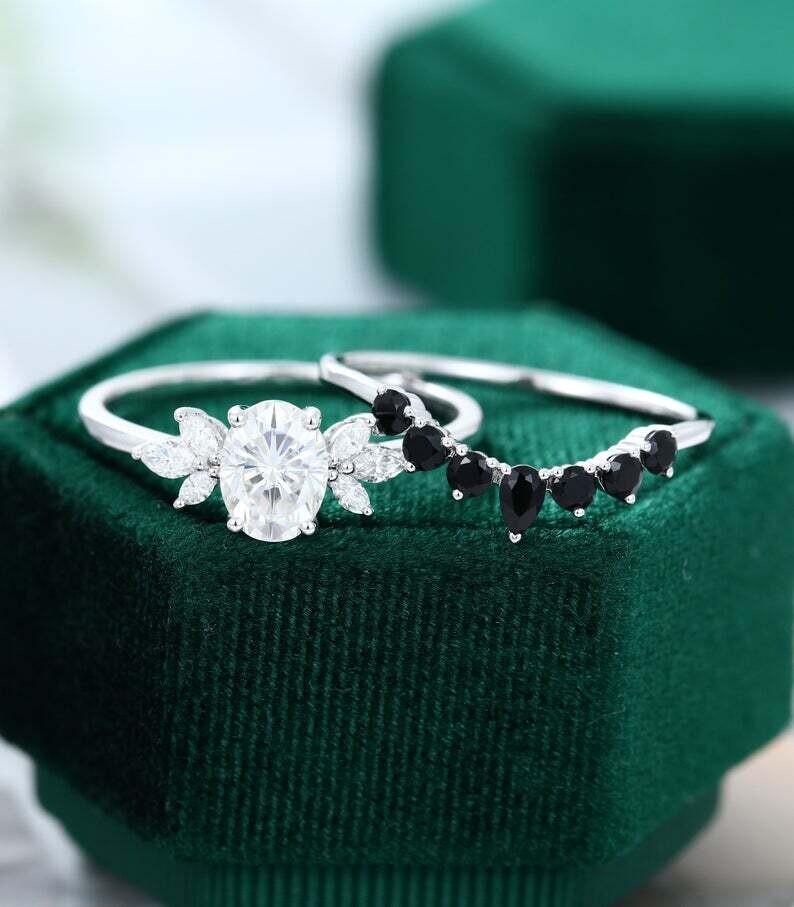 Oval Moissanite engagement ring set white gold vintage unique engagement ring women pear shaped black onyx wedding Bridal Anniversary gift
