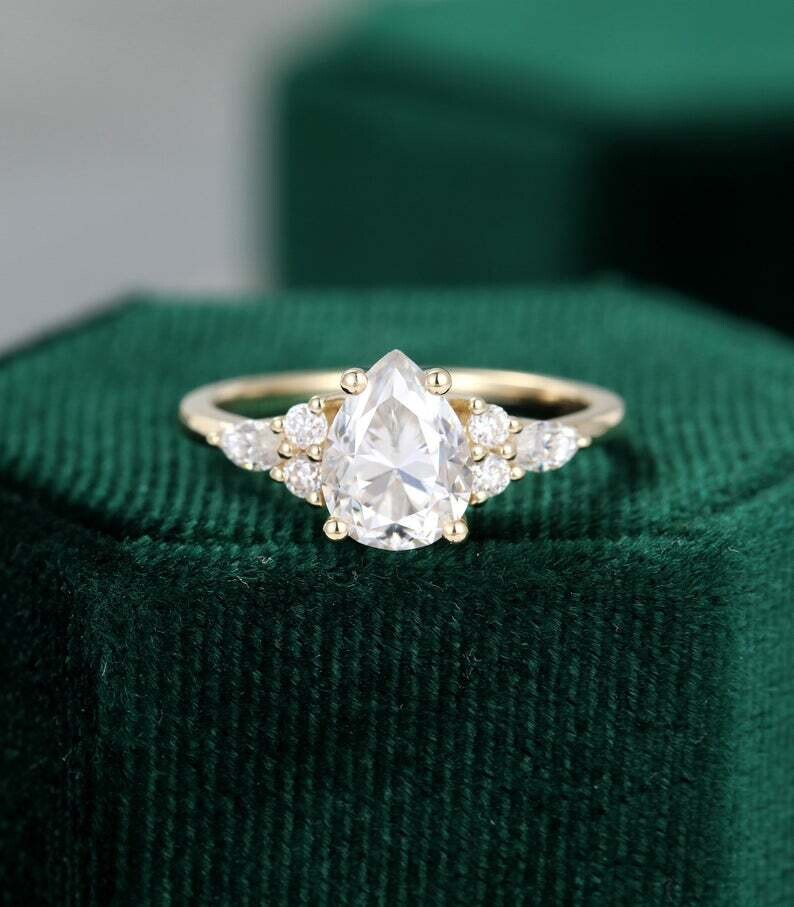 Pear shaped Moissanite engagement ring vintage Unique Cluster yellow gold engagement ring women Marquise diamond wedding Promise ring