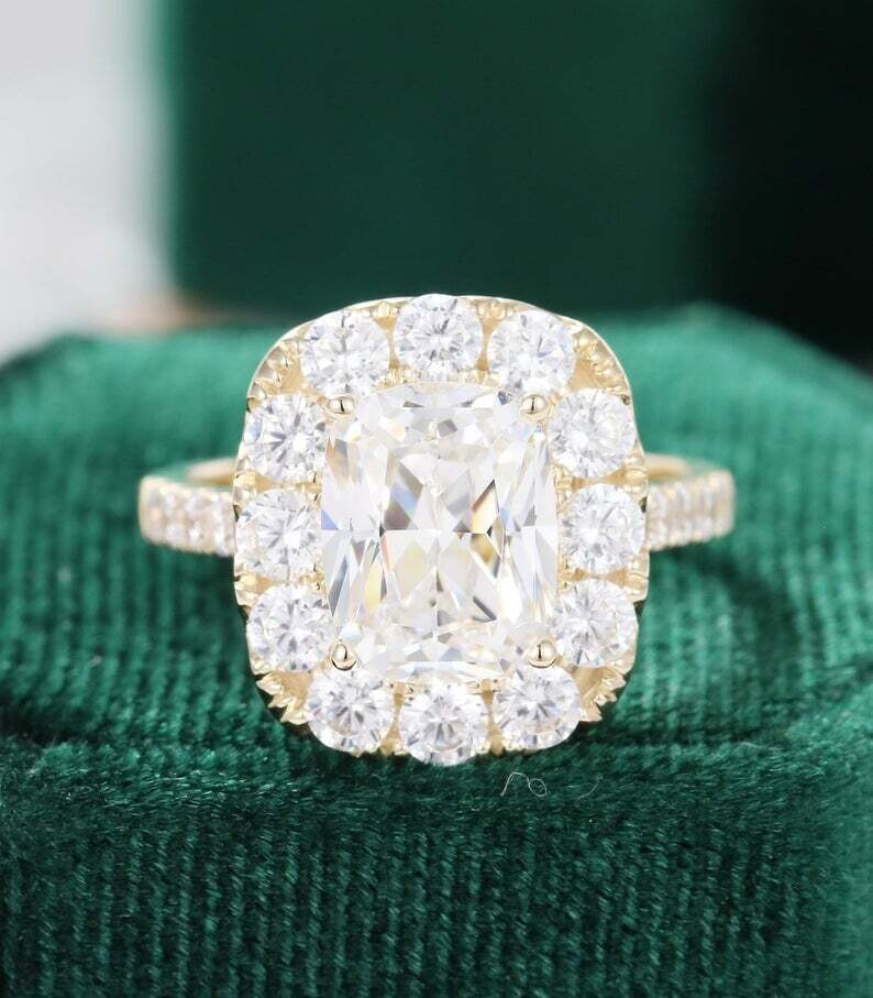 7*9mm Cushion cut Moissanite engagement ring Yellow gold Vintage engagement ring women Unique Halo Half eternity Bridal Anniversary gift