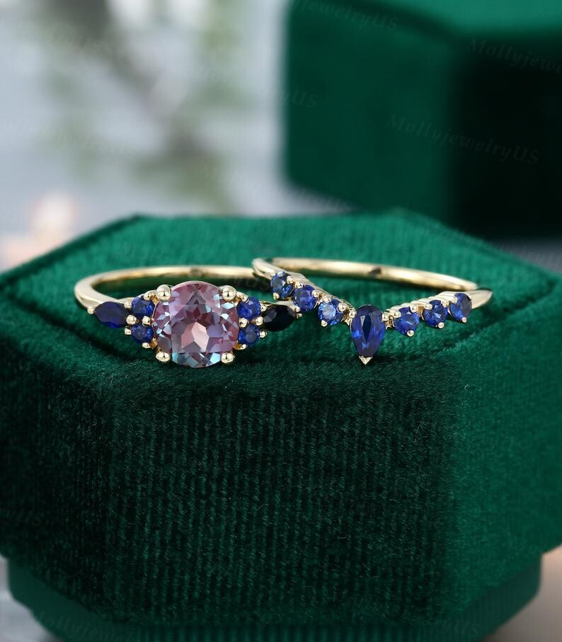 Alexandrite engagement ring set vintage yellow gold unique engagement ring sapphire Marquise wedding Bridal SET Anniversary ring dainty ring
