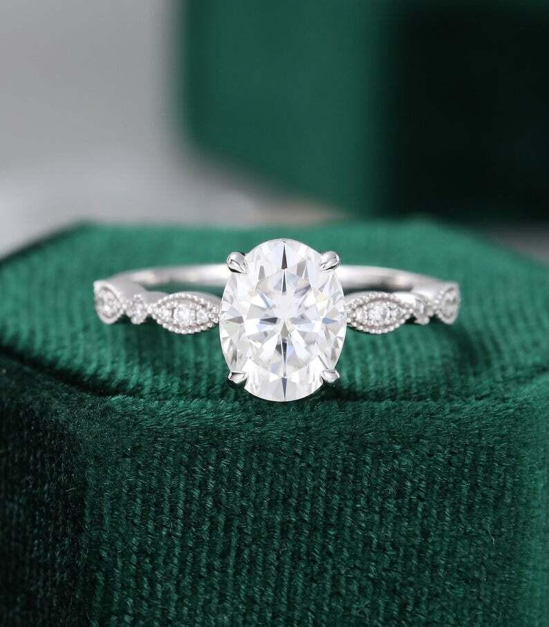 Oval Moissanite engagement ring white gold vintage Unique engagement ring women Antique diamond Wedding Milgrain Bridal Anniversary gift