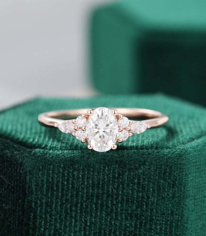 Oval Moissanite engagement ring vintage unique Cluster rose gold engagement ring women Marquise cut diamond Bridal Anniversary gift