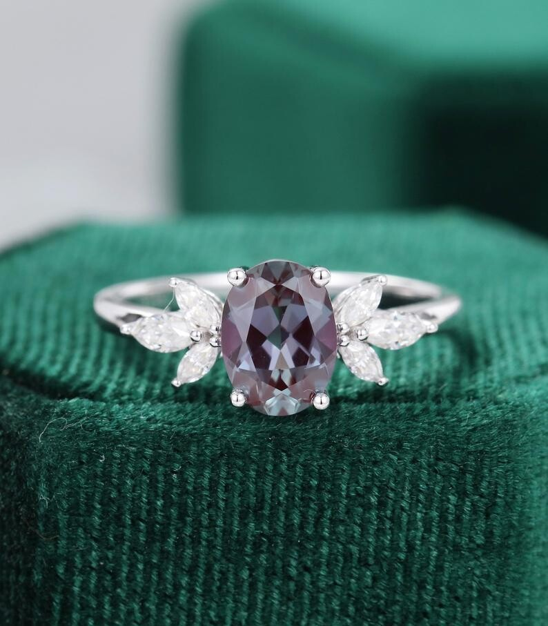 Oval cut alexandrite engagement ring vintage white gold Unique Marquise cut diamond Cluster engagement ring women Bridal Promise gift