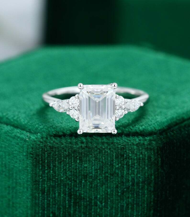 Emerald cut Moissanite engagement ring vintage white gold Unique Marquise Diamond Cluster engagement ring Bridal ring Anniversary ring
