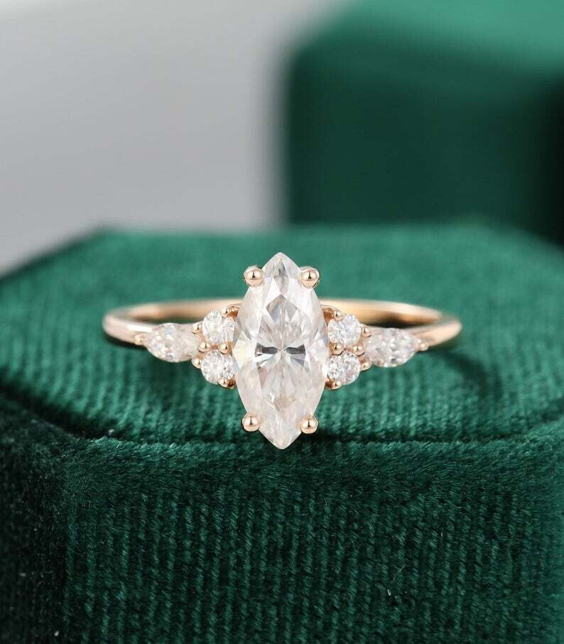 Marquise cut Moissanite engagement ring vintage rose gold Unique Cluster engagement ring women diamond Bridal promise Anniversary gift