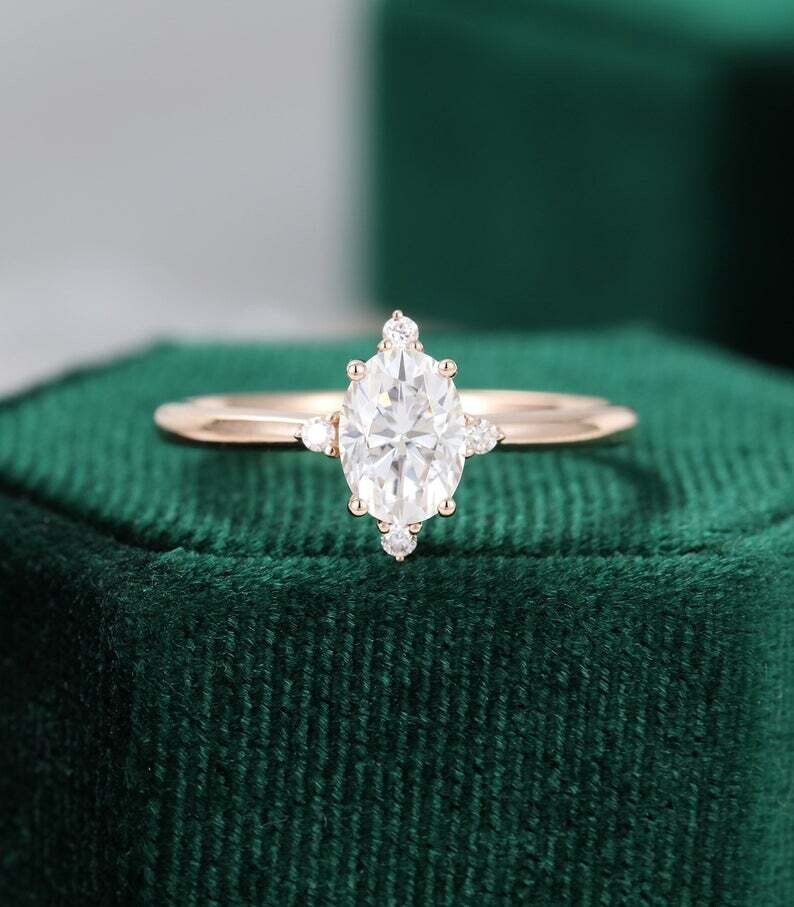 Oval cut Moissanite engagement ring rose gold unique vintage engagement ring women diamond Cluster ring Wedding Bridal Anniversary gift