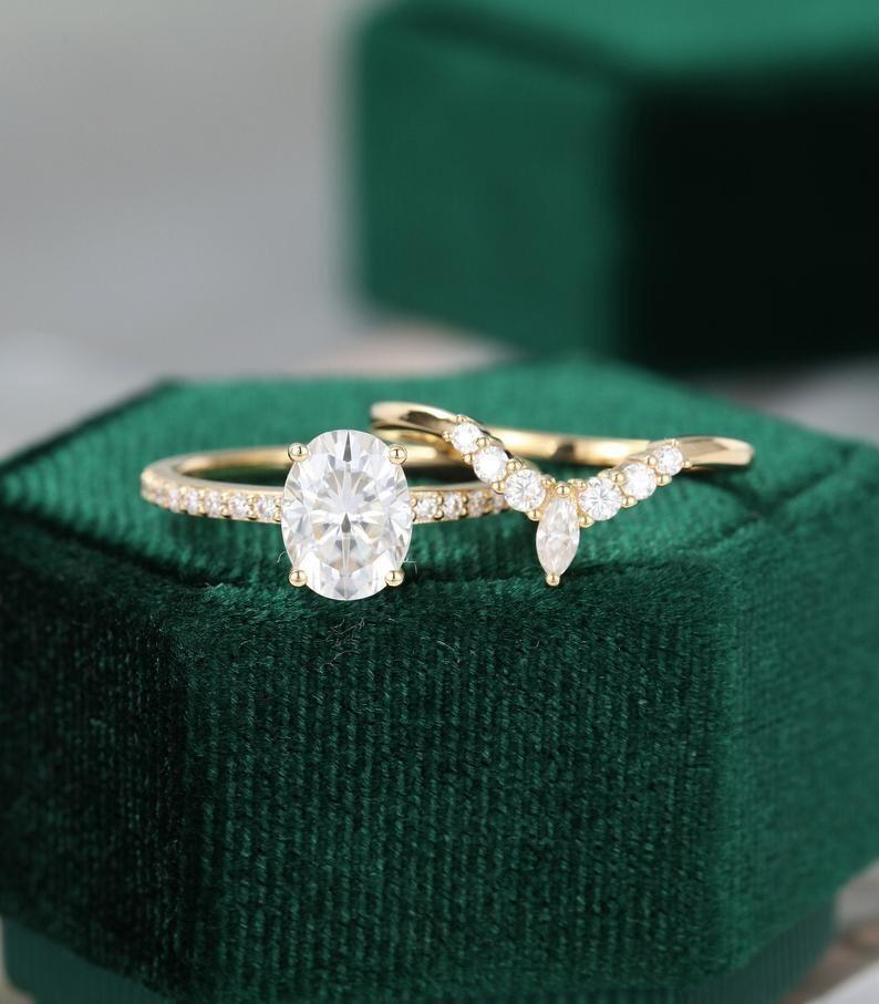 Unique engagement ring women yellow gold Oval Moissanite engagement ring set vintage Half eternity Diamond wedding Bridal Promise gift