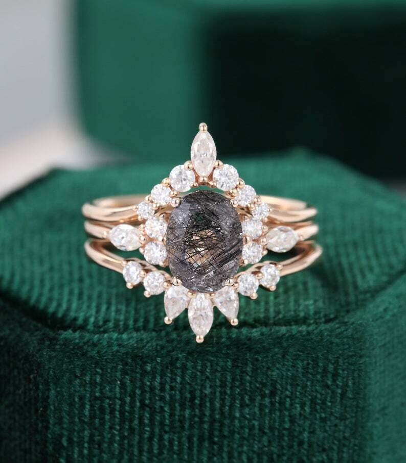 3PCS Black Rutilated Quartz engagement ring set rose gold Unique Oval Cluster vintage ring vintage Marquise moissanite wedding Bridal gift