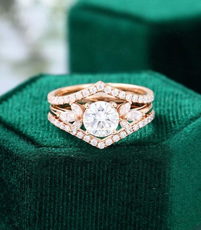 Moissanite engagement ring set vintage unique rose gold engagement ring women Half eternity Stacking Matching wedding Bridal Promise