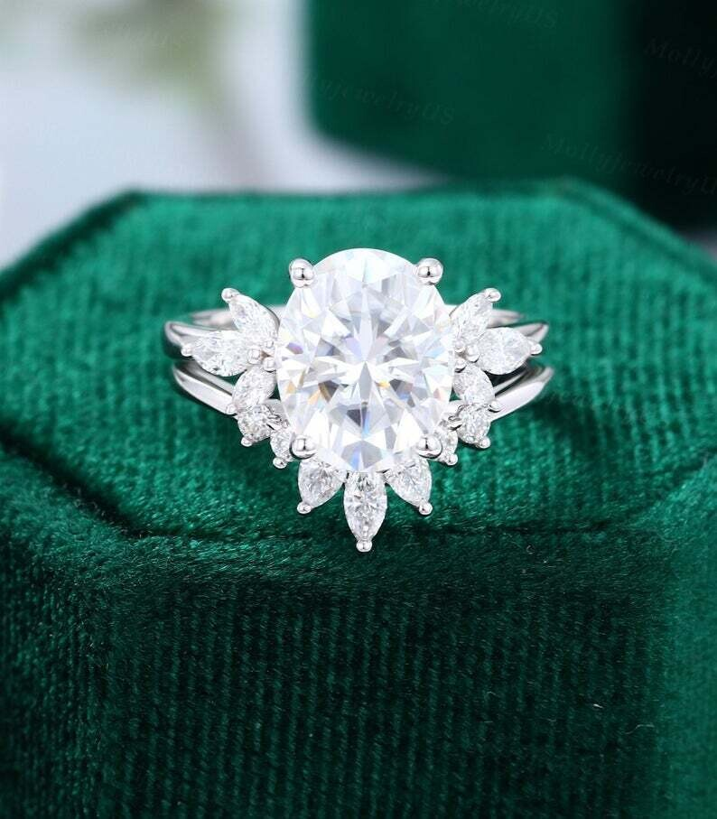 8*10mm Oval Moissanite engagement ring set vintage white gold Marquise cut diamond Cluster engagement ring women Bridal Anniversary ring