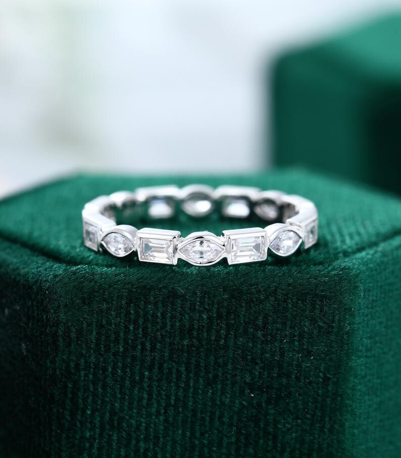 Vintage CZ/Moissanite wedding band women Unique Half eternity white gold wedding band vintage Stacking Matching bridal promise gift for her
