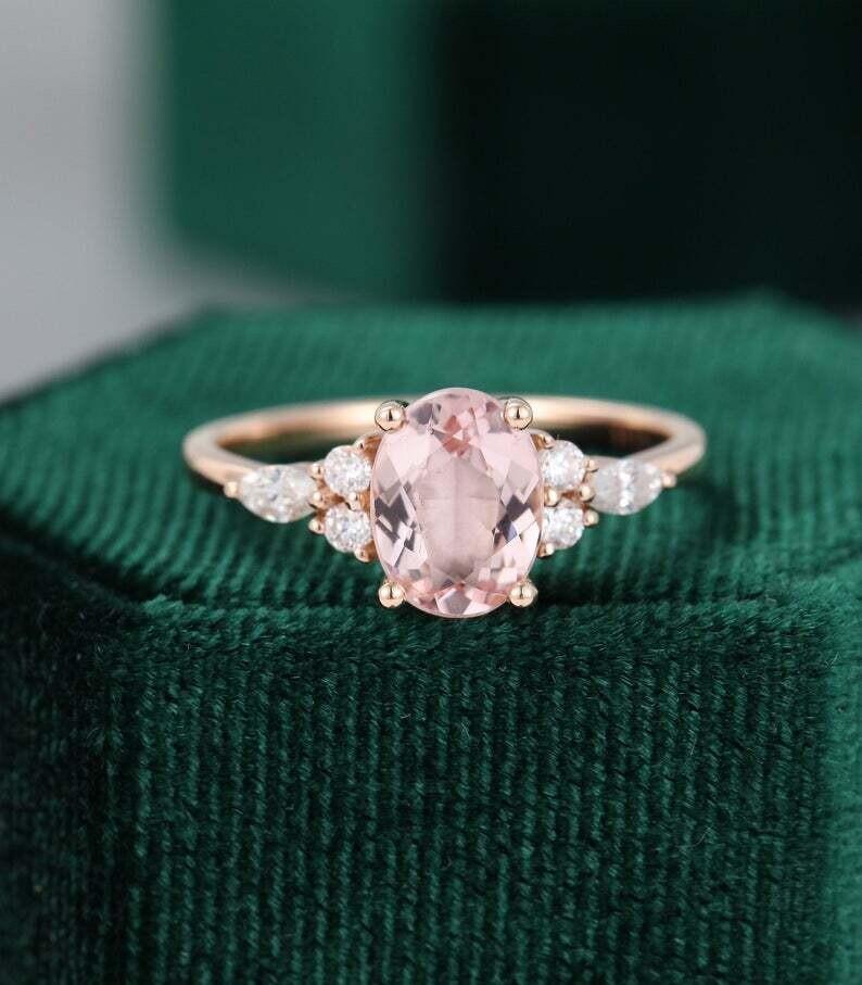 Oval Morganite engagement ring vintage Unique Marquise cut diamond Cluster Rose gold engagement ring women Moissanite wedding Bridal set