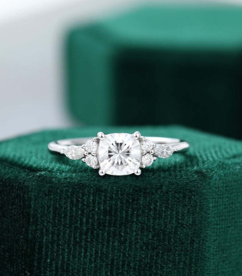 Cushion cut Moissanite engagement ring white gold Unique Cluster engagement ring vintage Marquise cut diamond Anniversary promise ring