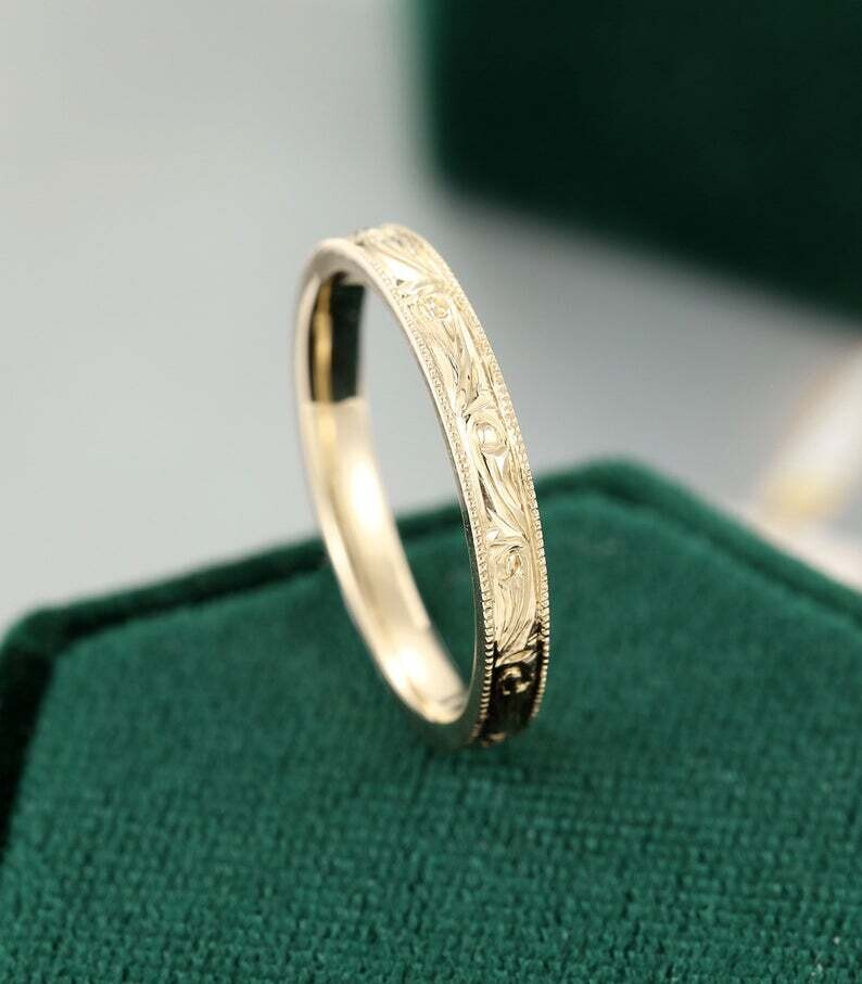 Full eternity Floral wedding band women Unique vintage wedding band Yellow gold Bridal Milgrain Stacking Matching promise gift for her