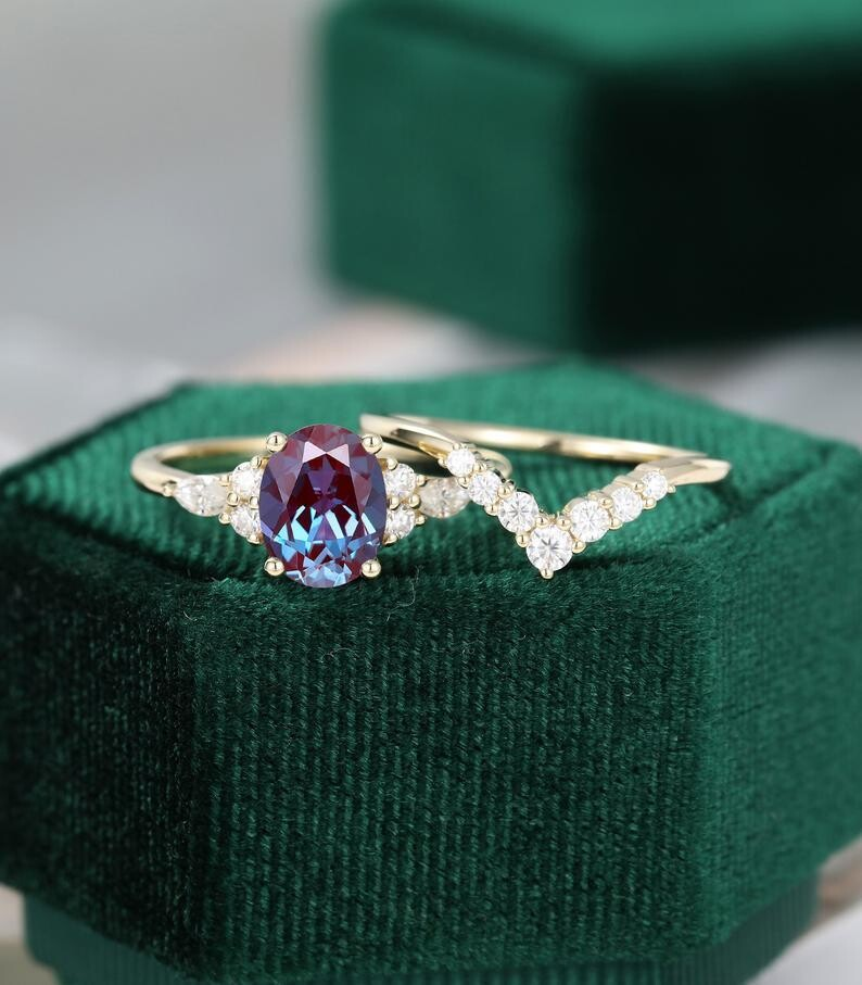 Unique engagement ring set vintage Oval cut Alexandrite Unique cluster diamond ring 14k yellow gold Marquise wedding Bridal promise ring set