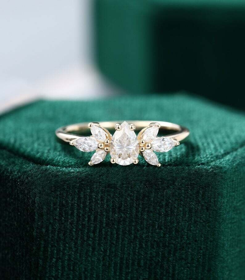 Pear shaped Moissanite engagement ring vintage Unique yellow gold Marquise cut diamond Cluster wedding ring Bridal Promise gift for women