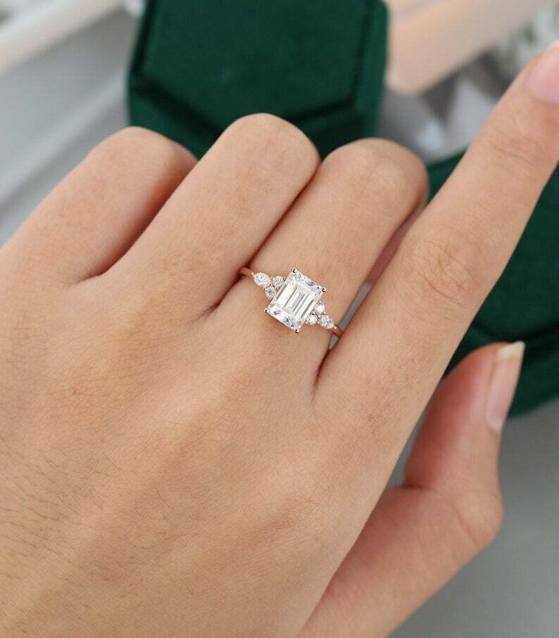 Emerald cut Moissanite engagement ring vintage diamond Cluster ring unique rose gold engagement ring women Marquise Bridal Promise gift