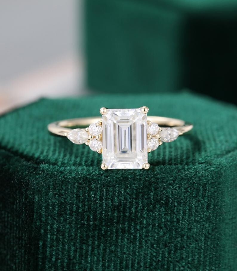 Emerald cut Moissanite engagement ring vintage yellow gold Marquise diamond ring Cluster ring unique ring engagement ring Anniversary ring