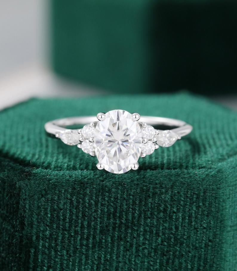 Oval cut Moissanite engagement ring vintage Unique engagement ring white gold Marquise cut diamond wedding ring Bridal ring Anniversary ring