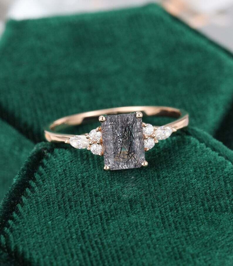 Emerald cut Black Rutilated Quartz engagement ring vintage rose gold Diamond Cluster engagement ring women Unique Bridal Promise gift