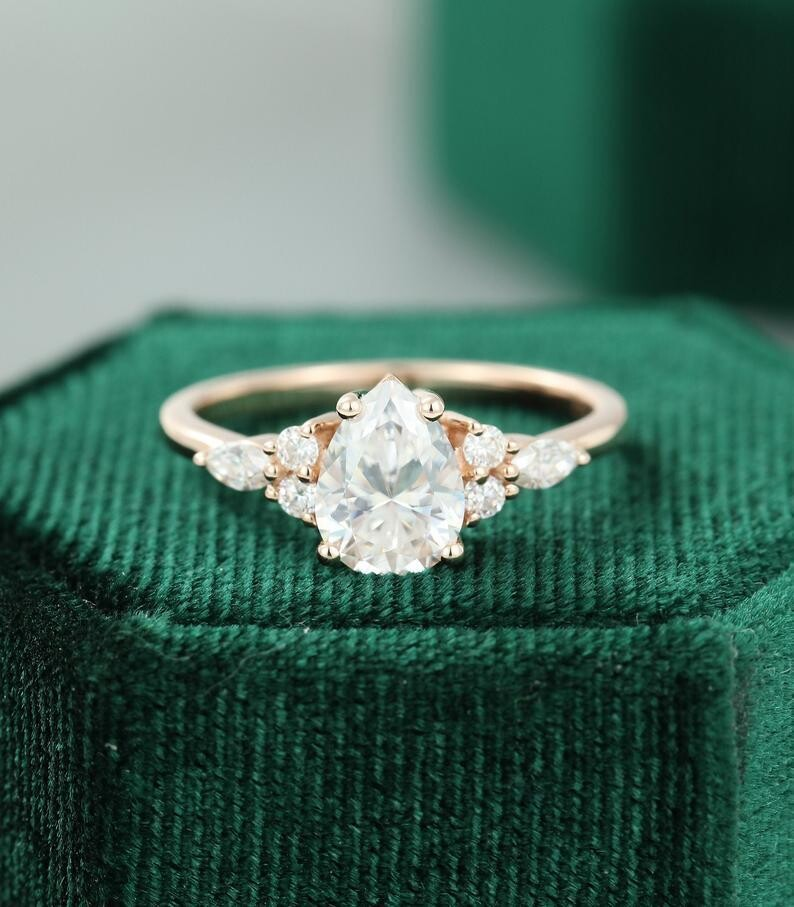 Pear shaped Moissanite engagement ring rose gold unique Cluster engagement ring women vintage Marquise diamond/Moissanite Promise ring