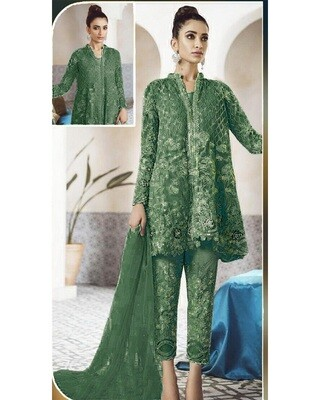 Admiring Net Embroidered Green Palazzo Suit