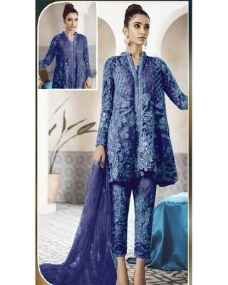 Royal Blue Designer Net Embroidered Pakistani Suit