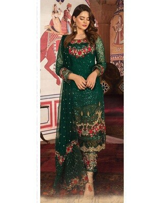 Green Embroidery Heavy Faux Georgette Chudidar Suit