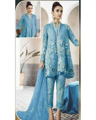 Admiring Light Blue Net Embroidered Palazzo Suit