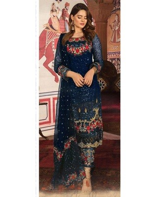 Royal Blue Embroidery Heavy Faux Georgette Chudidar Suit