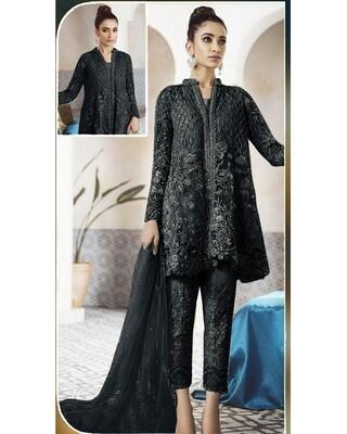 Black Designer Net Embroidered Pakistani Suit