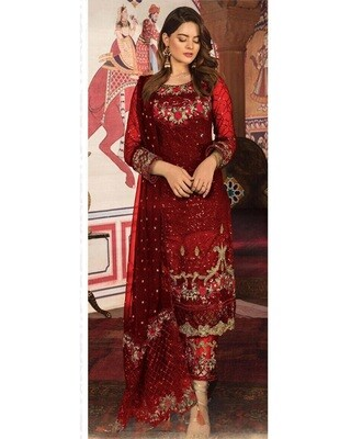 Red Designer Embroidery Georgette Chudidar Suit
