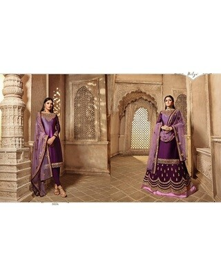 Purple Embroidery and Stonework Georgette with Skirt and Salwar Suit