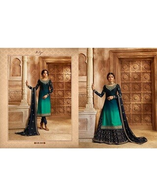 Bottle Green Embroidery and Stonework Georgette with Skirt and Salwar Suit