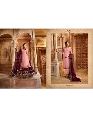 Embroidery and Stonework Georgette with Skirt and Salwar Suit In Pink