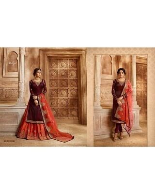 Wine Embroidery and Stonework Georgette with Skirt and Salwar Suit