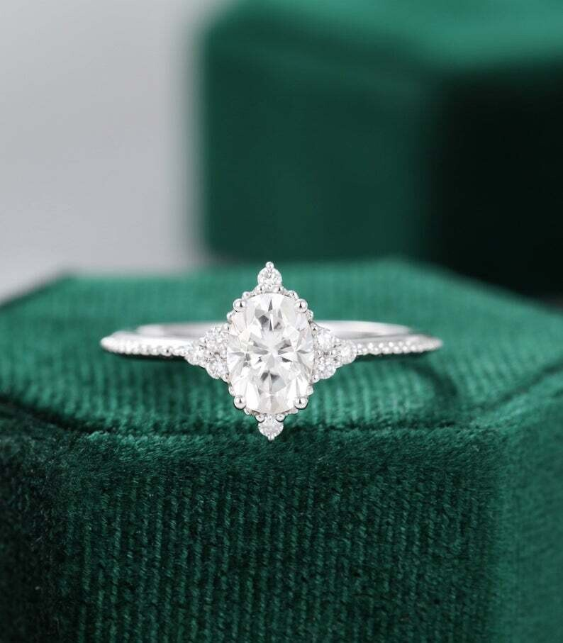 Moissanite engagement ring white gold unique vintage engagement ring women diamond Cluster Oval Wedding milgrain Bridal Anniversary gift