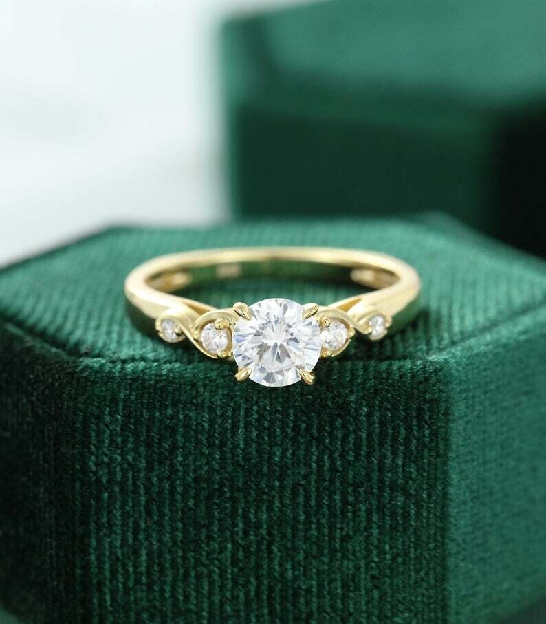 Moissanite engagement ring vintage yellow gold Unique engagement ring women Diamond wedding Bridal Antique Promise Anniversary gift for her