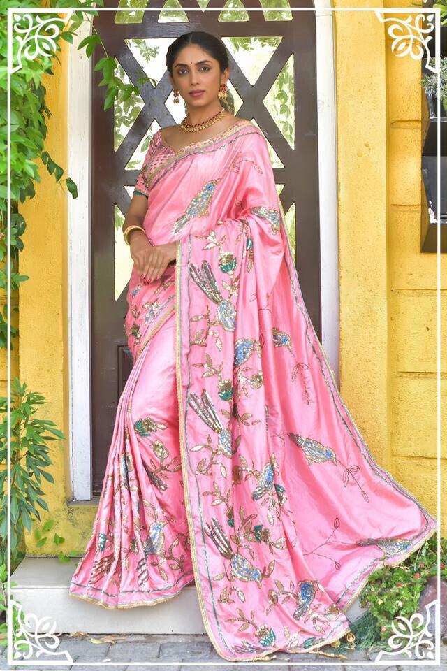 Gorgeous Baby Pink Animal Pattern Silk Saree