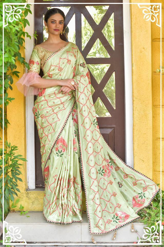 Latest Bridal Pista Classical Pattern Silk Saree
