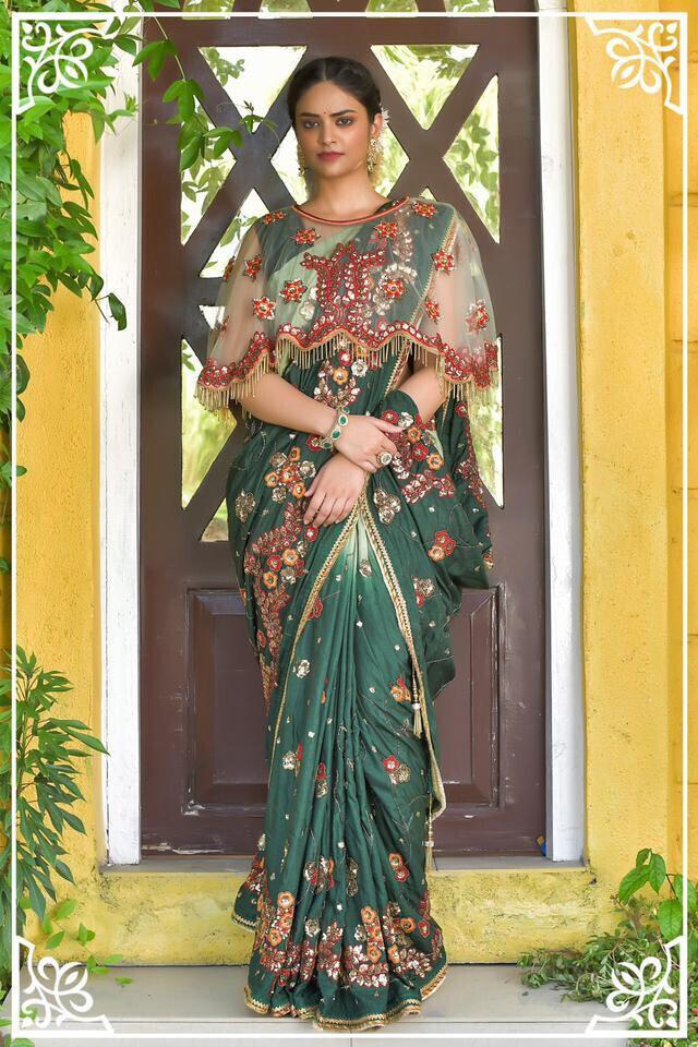 Designer Green Bangali Work with Sequence Work Silk Saree